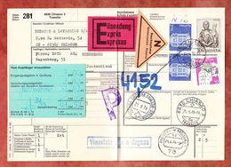 Paketbegleitadresse, MiF Lucas U.a., Chiasso Transito Ueber Freiburg Nach Norderstedt 1976 (60511) - Switzerland