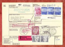 Paketbegleitadresse, MiF Matthaeus U.a., Petit-Lancy Ueber Basel + Freiburg Nach Hamburg 1976 (60512) - Switzerland