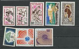 CONGO  Scott 103-104, C15, C16, 110, 106-107 Yvert 150-151, PA7, PA12, PA14, 158, 154-155 (9) ** Cote 9,20 $ 1962-3 - Congo - Brazzaville