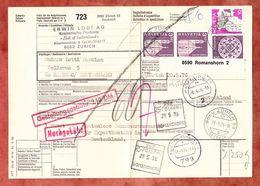 Paketbegleitadresse, MiF Engelberg U.a., Zuerich Seebach Ueber Romanshorn + Friedrichshafen Nach Hamburg 1976 (60513) - Switzerland