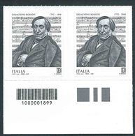 Italia 2018; Gioachino Rossini, Compositore Di Opere, Musica Sacra E Da Camera, Canzoni. Coppia Con Codice A Barre. - 6. 1946-.. Repubblica