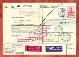Paketbegleitadresse, MiF Johannes U.a., Petit-Lancy Ueber Geneve Nach Hamburg 1976 (60515) - Switzerland