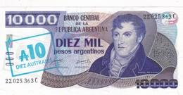 10000 PESOS ARGENTINOS RESELLADO 10 AUSTRALES. MANUEL BELGRANO. CIRCA 1985s-TBE-BILLETE BANKNOTE BILLET NOTA- BLEUP - Argentina