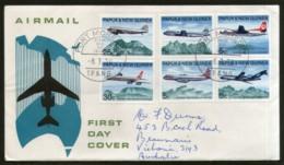 Papua New Guinea 1970 Aircraft Transport Volcano Aviation 6v FDC # 12843 - Airplanes