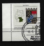 BUND Mi-Nr. 1587 Linkes, Unteres Eckrandstück Wappen Bayern Gestempelt - BRD