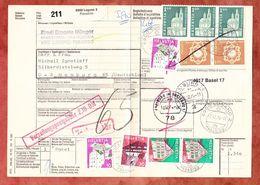 Paketbegleitadresse, MiF Wirtshausschild Sonne U.a., Lugano Ueber Basel + Freiburg Nach Hamburg 1974 (60516) - Switzerland