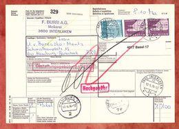 Paketbegleitadresse, MiF Engelberg U.a., Interlaken Ueber Basel + Freiburg Nach Hamburg 1976 (60517) - Switzerland