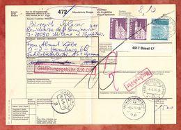Paketbegleitadresse, MiF Engelberg U.a., Mendrisio Borgo Ueber Basel + Freiburg Nach Hamburg 1976 (60518) - Switzerland