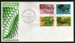 Papua New Guinea 1972 Reptiles & Amphibians Turtle Sanke Lizards 4v FDC # 13162 - Snakes