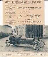 Voiture à Pédalles Cyclecar - Voiturette Dupuy Ile Bouchard (37 Indre Et Loire) Constructeur Henri Dupuy + Carte Visite - France
