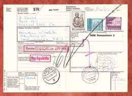 Paketbegleitadresse, MiF Lucas U.a., Thalwil Ueber Romanshorn + Friedrichshafen Nach Hamburg 1976 (60519) - Switzerland