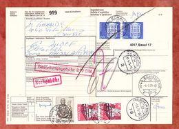 Paketbegleitadresse, MiF Lucas U.a., Echallens Ueber Basel + Freiburg Nach Hamburg 1976 (60520) - Switzerland