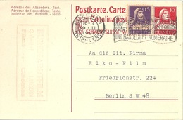 "PK 62  ""Burkhardt Film, Luzern"" - Berlin           1921 - Stamped Stationery"