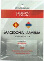 Plastic Match Tickets( PRESS ) - Football Mach Macedonia Vs Armenia 2018 - Tickets D'entrée