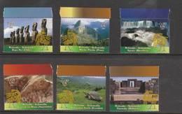 2007  UN Vienna  - World Heritage Series - South America  - Singles From Booklet (6) Mint NH (MNH) - Wien - Internationales Zentrum