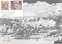 """AK  """"St.Moritz - Winteransicht"""" - Wiesbaden  (Mischfrankatur)         1950 - Switzerland"""
