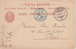 Suisse - Entier Postal 10 Centimes 1er Février 1885 De Fluntern à Paris - Stamped Stationery
