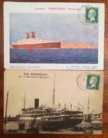 2 CATES NIVIRES DES MESSAGERIES MARITIMES CACHETS MARSEILLE à YOKOHAMA - Postcards
