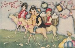 Cpa - JOYEUSES PAQUES - Enfants Sur Moutons - Easter