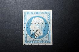 FRANCE 1852 N°10 OBL. LOSANGE PC 2767 (LOUIS-NAPOLÉON. PRÉSIDENCE. 25C BLEU. LÉGENDE REPUB FRANC. NON DENTELÉ. B SOUS LE - 1852 Louis-Napoléon