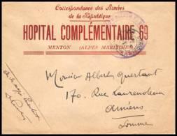4090 Lettre France Guerre War 1914/1918 Santé Hopital Complémentaire N°69 Menton 1916 - Poststempel (Briefe)
