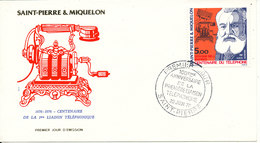St. Pierre & Miquelon FDC 22-6-1976 Telephone Centenary With Cachet - FDC
