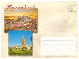 Maroc. Enveloppe Illustrée. Marrakech : Place Jamaâ El Fna, La Menara Et Une Mosquée. - Autres Collections