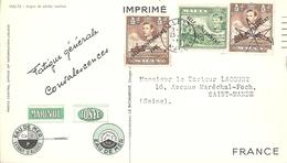 Carte Publicitaire Et Philatélique Marinol Ionyl Timbres De Malte - Malta