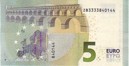 (Billets). 5 Euros 2013 Serie ZB, Z004D3 Signature 3 Mario Draghi N° ZB 3333840144 UNC - EURO