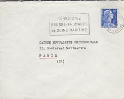"""LSC 1957 - Cachet Rouen Gare Et Flamme """" Consommez Beurre-fromages De Seine Maritime"""" - Marcophilie (Lettres)"""
