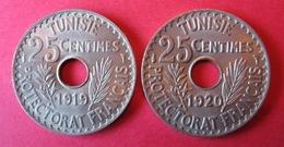 TUNISIE : 25 Cmes  1919 Et 1920 . Qualité ! - Tunesië