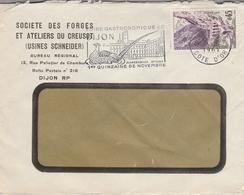 """LSC 1961 - Entête Société Des Forges Et Ateliers Du CREUSOT  - DIJON   Flamme  Faisan """"Foire Gastronomique DIJON.... """" - Marcophilie (Lettres)"""