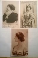 Lot De 3 Cartes Postales Anciennes / Soprano Lina CAVALIERI - Artisti