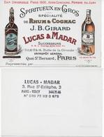 Carte De Visite Illustrée SPIRITUEUX RHUM COGNACQ - LUCAS Et MADAR - à PARIS (JB GIRARD) - Visiting Cards
