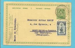 164 Op Entier ANTWOORD-kaart (carte-reponse) Met Stempel GRANDCAMP LES BAINS / CALVADOS (France) - 1915-1920 Albert I