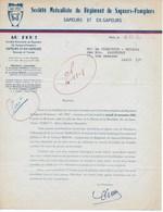 Lettre Société Mutualiste Du Régiment De Sapeurs-Pompiers Pour  Grand Bal De Bienfaisance 15 Nov 1958 - Pompiers