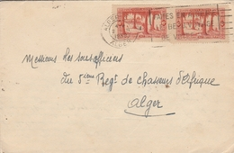 """Lsc1939 -Cachet ALGER Et Flamme """"Faites En Algérie Le Beau Voyage De Votre Vie"""" - YT 106 / Cachet Alger Mustapha Au Dos - Briefe U. Dokumente"""