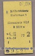 BRD - Pappfahrkarte ( DB) - Kreiensen 1 - Hannover Hbf (Schüler) Vom 07.06.71 - Europe
