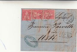 Lugano Per Asti, Cover  Con Contenuto 10+10+10 Francs+ PD Transito Per Milano E Poi Torino 1848 - 1843-1852 Poste Federali E Cantonali