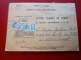Marcophilie Lettre Taxée Timbres Taxes 1fr 20 LETTRE TOMBÉE EN REBUT ET OUVERTE CONFORMÉMENT A LA LOI CUSSET 1974 - Lettres Taxées