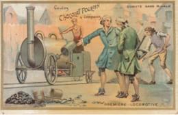 Chromo Poulain Chocolat  22 .. Première Locomotive .. Train Charbon Vapeur - Poulain