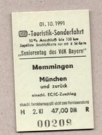 BRD - Pappfahrkarte ( DB) - Sonderfahrt - Sonderzug Memmingen - München 1.10.91 - Bahn