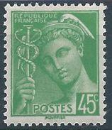 FRANCE - 1938-41 - YT N°414 - 45 C. Vert-jaune - Type Mercure - Neuf** - TTB Etat - 1938-42 Mercure