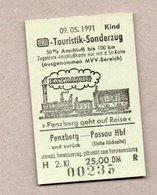 BRD - Pappfahrkarte ( DB) - Sonderfahrt -  Touristik-Sonderzug Prenzberg - Passau 9.5.91 - Europa