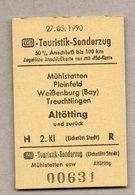 BRD - Pappfahrkarte ( DB) - Sonderfahrt -  Touristik-Sonderzug Mühlstetten - Altötting 27.5.90 - Bahn