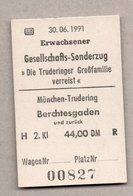 BRD - Pappfahrkarte ( DB) - Sonderfahrt -  München - Berchtesgarden 30.6.91 - Bahn