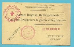 "Kaart ""Renseignements Pour Les Prisonnier"" Stempel CROIX ROUGE SECTION TIRLEMONT -> STALAG - WW II"