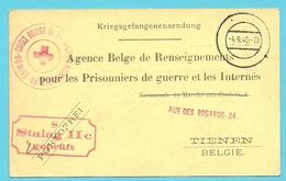 """Kaart """"Renseignements Pour Les Prisonnier"""" Stempel CROIX ROUGE COMITE TIRLEMONT -> STALAG - WW II"""