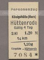 BRD - Pappfahrkarte (DR) - (Rübelandbahn) - Königshütte - Hüttenrode - Bahn