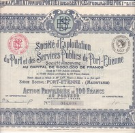 Th2PORT : PORT-ETIENNE - Action P. De 100 Frs1925 (10) - Actions & Titres